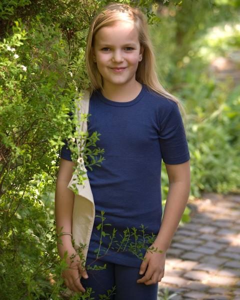 Kinder Unterhemd kurzarm, Engel Natur, Wolle Seide, 3 Farben