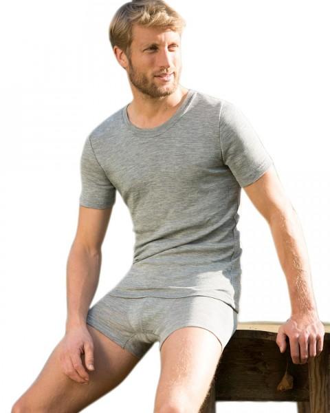 Herren Shirt kurzarm, Wolle und Seide