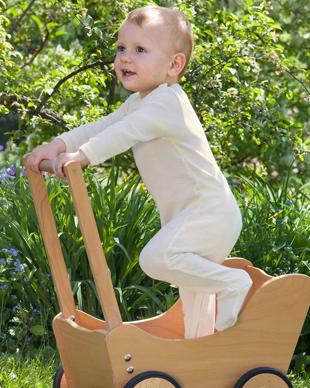 hochwertiges Design eb771 511f8 Baby Schlafoverall, Engel Natur, Wolle Seide