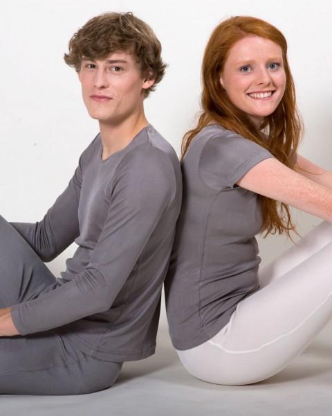 Unisex Unterhemd langarm Rippe, 100% Seide