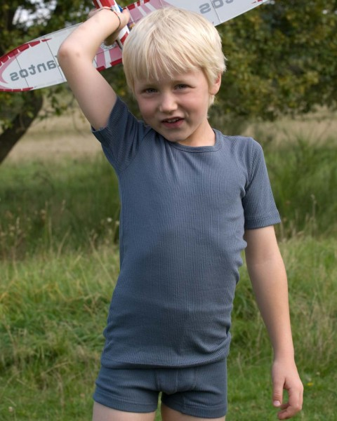 Jungen Unterhemd kurzarm, Engel Natur, 100% Baumwolle (kbA), graphit