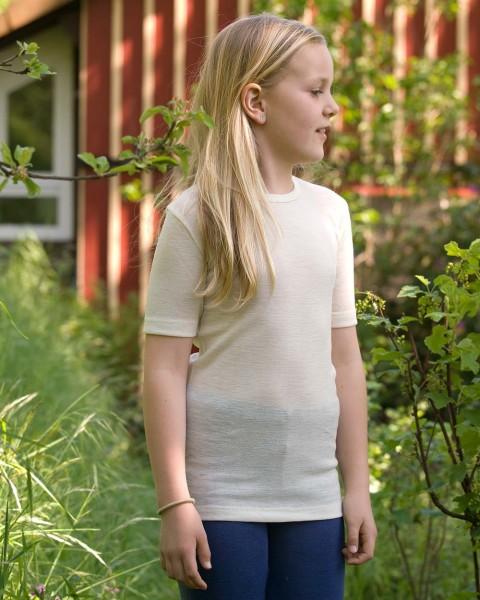 Kinder Unterhemd kurzarm, Engel Natur, 100% Wolle (kbT)