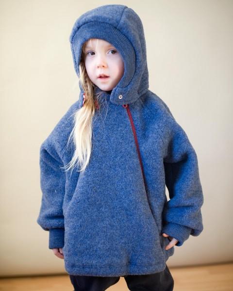Kinder Fleece Jacke mit Reißverschluss und Kapuze, 100% Wolle