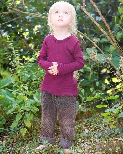 Mädchen Shirt langarm, Wolle und Seide