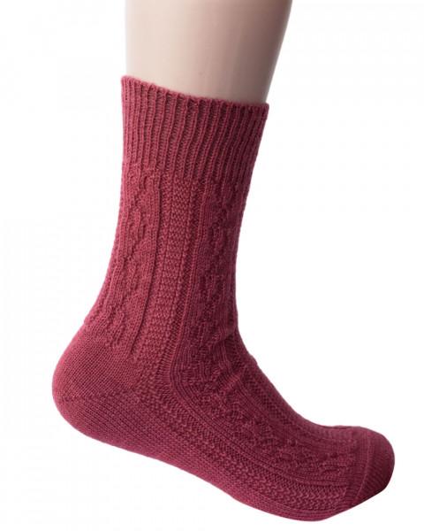 Hirsch Natur, Zopfmuster Socken dick, 100% Wolle (kbT)