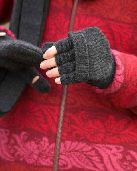 Damen Handschuhe mit Klappe, 100% Wolle, 3 Farben