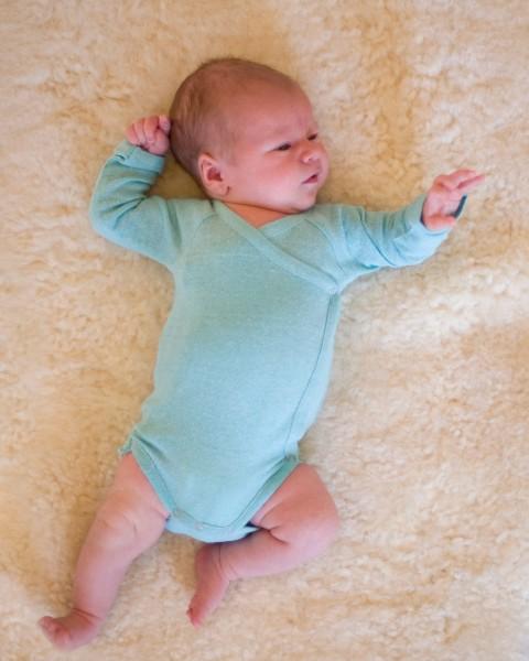 Baby Wickelbody langarm, Alkena, 100% Seide (Bourrette)