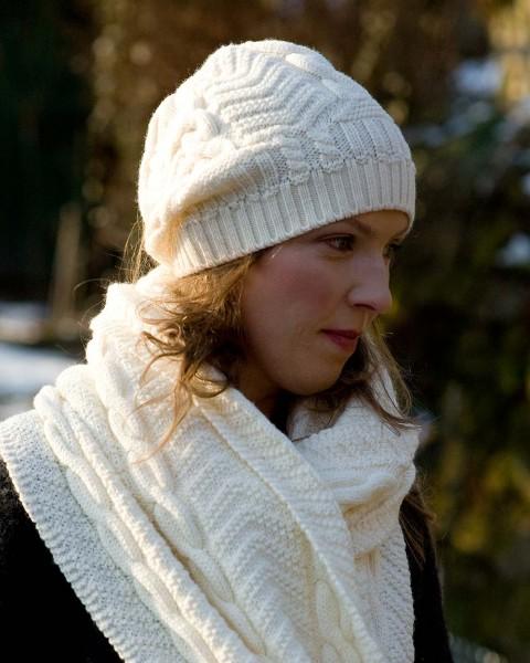 Damen Zopfmütze, Ganterie, 100% Wolle, 4 Farben