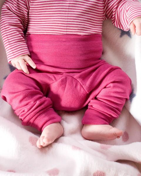 Cosilana, Baby-Hose lang mit Bund, 70 % Wolle (kbT) 30 % Seide, 9 Farben