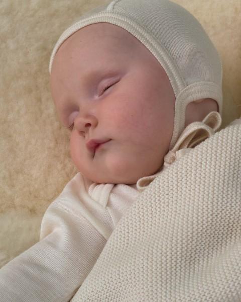 Baby Häubchen für Frühgeborene, Engel Natur, Wolle Seide