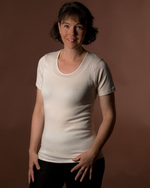 Damen Unterhemd kurzarm, Engel Natur, Wolle Seide, 4 Farben