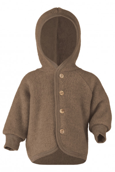 Baby Kapuzenjacke Fleece, Engel Natur, 100% Wolle (kbT), 10 Farben