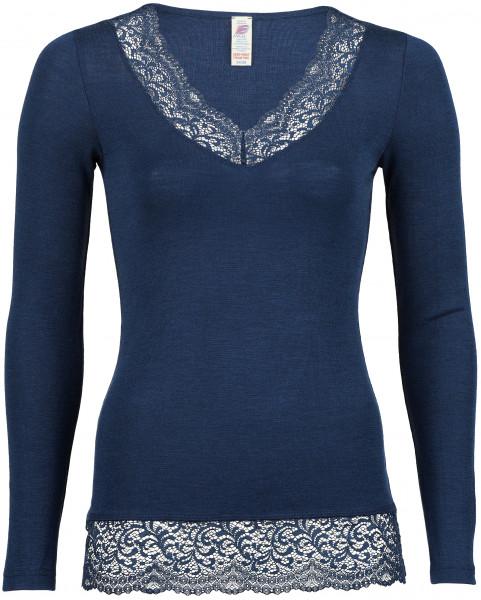 Engel Natur, Damen Shirt mit Spitze, 70% Wolle (kbT), 30% Seide