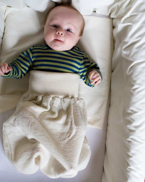 Baby Strampelsack Frottee, Engel Natur, 100% Wolle (kbT)