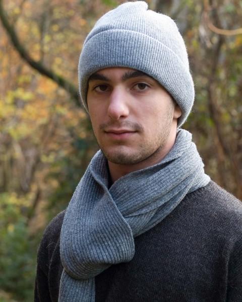 Herren Schal Feinripp, Ganterie, 100% Wolle, 5 Farben