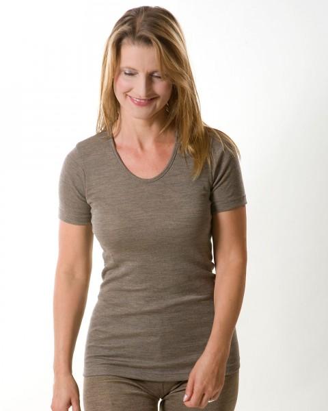 Damen Unterhemd kurzarm, Wolle Seide, 4 Farben