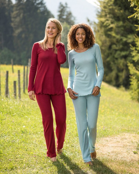 Damen Pyjama, Engel Natur, Wolle Seide, 2 Farben