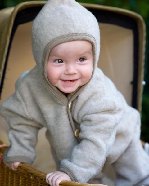 Cosilana, Baby Fleece Overall mit Kratzschutz, 60 % Wolle 40 % Baumwolle, 9 Farben