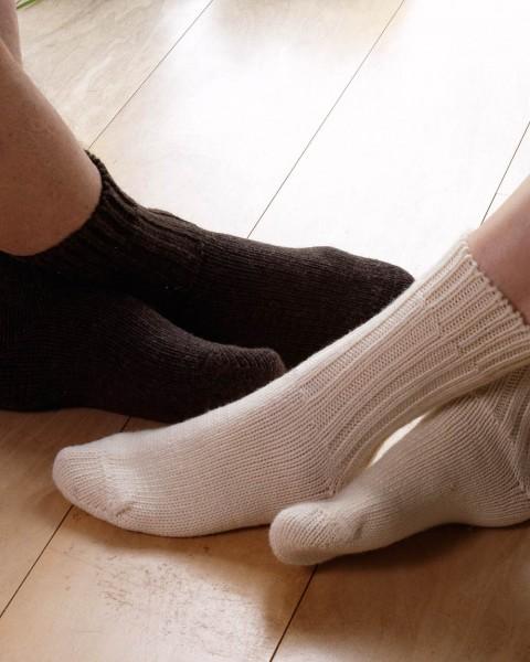 Dicke Socken, Hirsch Natur, 100% Wolle (kbT), 5 Farben
