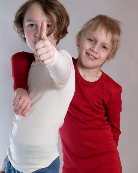 Kinder Unterhemd langarm, Engel Natur, Wolle Seide, 3 Farben