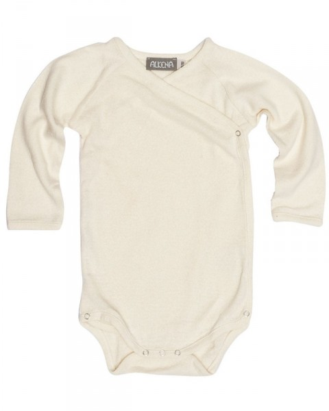 Baby Wickelbody langarm, Alkena, 100% Seide (Bourette, kbT)