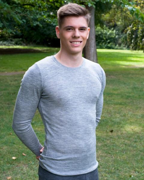 Herren Shirt langarm, 70% Wolle (kbT), 30% Seide