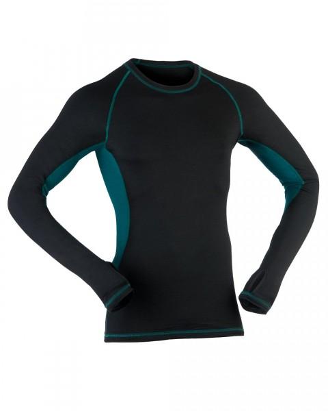 Herren Sport Shirt langarm, Engel Sports, Wolle Seide, Black/Hydro
