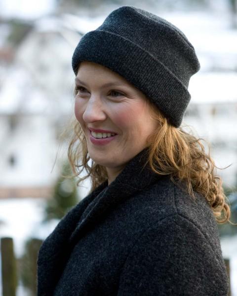 Damen Hutmütze mit Umschlag, 100% Wolle, 5 Farben