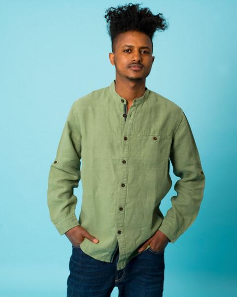 HempAge, Stehkragenhemd mit Tasche, 100% Hanf