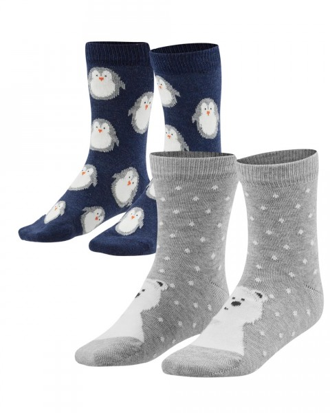 Kinder Socken 2er-Pack, Eisbär & Pinguin, Baumwolle (kbA)