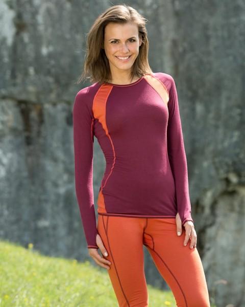 Damen Sport Shirt langarm, Engel Natur, Wolle Seide, maschinenwaschbar