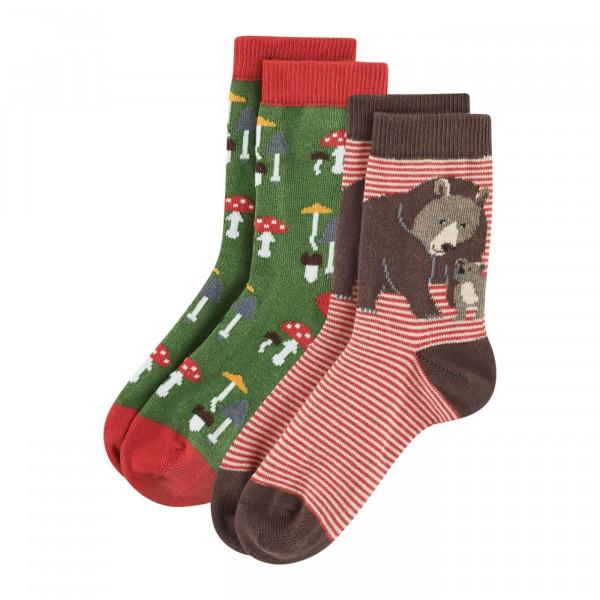 LivingCrafts, Kinder Socken Braunbär, 98% Baumwolle (kbA), 3% Elasthan
