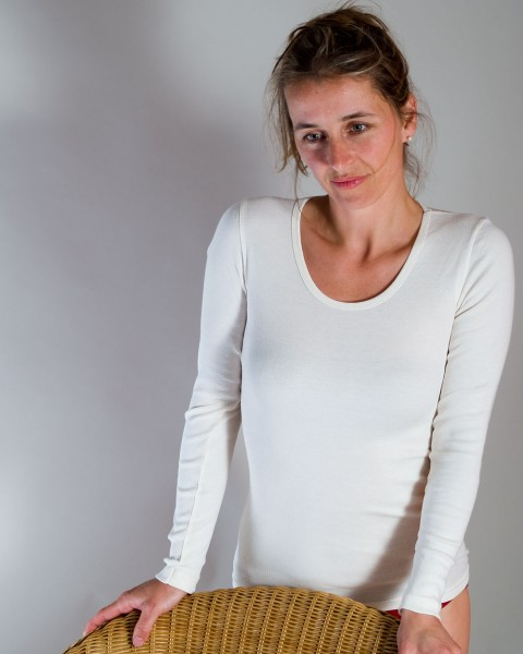 Damen Unterhemd langarm, Living Crafts, 100% Baumwolle (kbA), 2 Farben