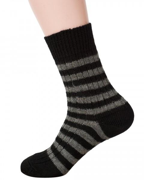 Hirsch Natur, Socken Ringel, 100% Wolle (kbT), 4 Farben