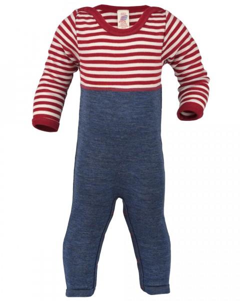 Baby Overall mit Umschlag an Beinen, 100% Wolle Feinripp