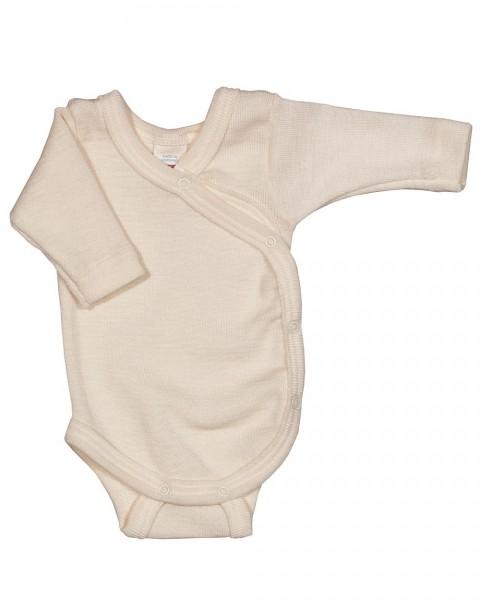 Baby Wickelbody langarm, Engel Natur, Wolle Seide, 3 Farben