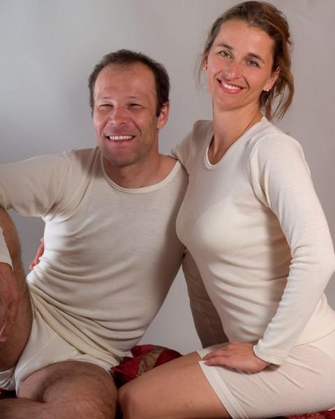 Unterhemd langarm für Damen und Herren, Engel Natur, 100% Wolle (kbT)