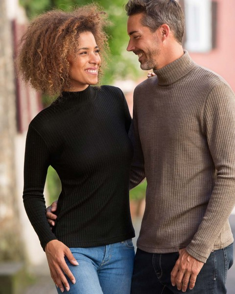 Damen Shirt mit Stehkragen, Urban Eco Style, 70% Wolle 30% Seide