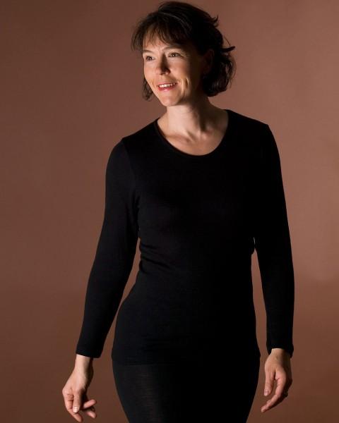 Damen Unterhemd langarm, Engel Natur, Wolle Seide, 4 Farben