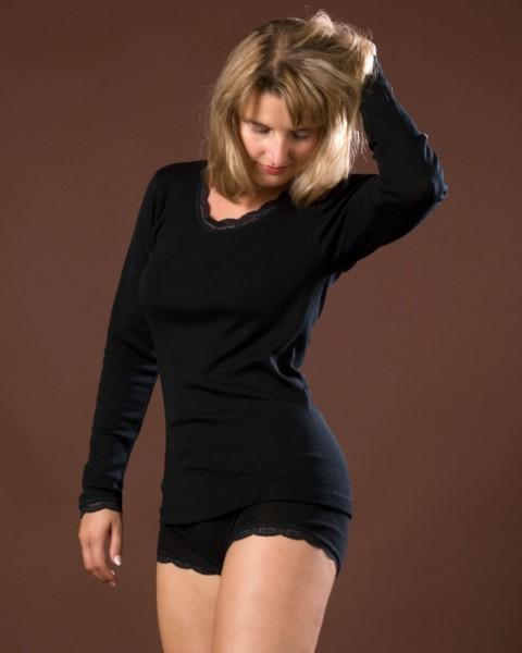 Damen Unterhemd langarm mit Spitze, Engel Natur, Wolle Seide, 2 Farben