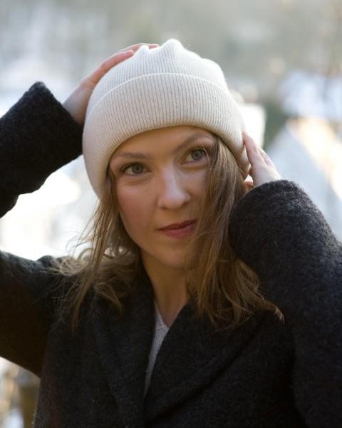 Damen Mütze glatt, Ganterie, 100% Wolle, 5 Farben