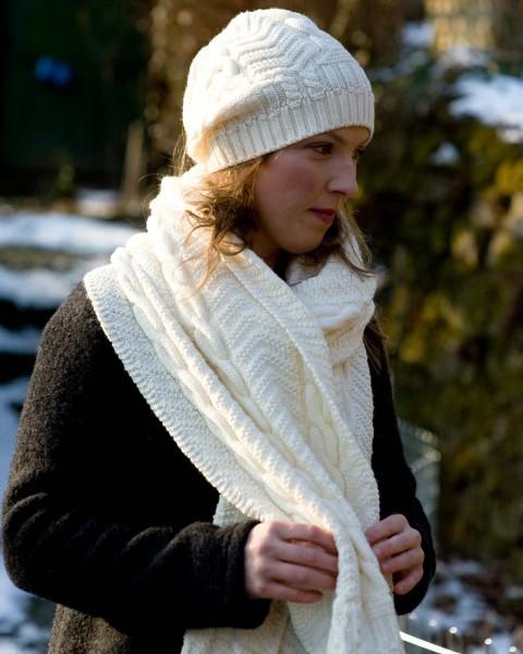 Damen Dicker Zopfschal, 100% Wolle, 4 Farben