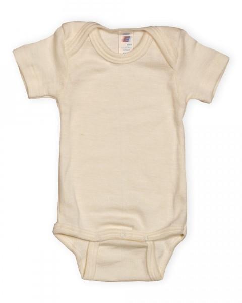 Baby Body kurzarm, Engel Natur, Wolle Seide