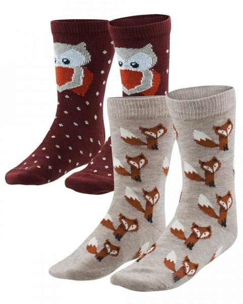 Kinder Socken 2er-Pack, Fuchs & Eule, Baumwolle (kbA)