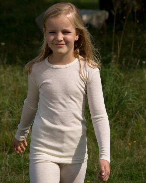 Kinder Unterhemd langarm, Engel Natur, 100% Wolle (kbT)