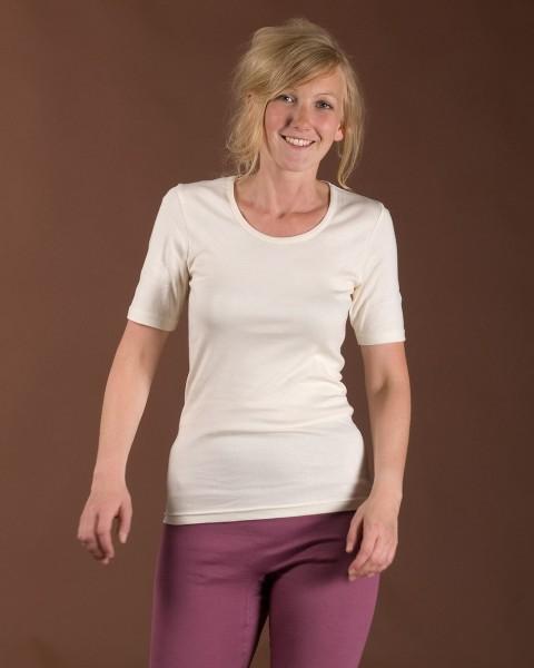 Damen Unterhemd kurzarm, Living Crafts, 100% Baumwolle (kbA), 2 Farben
