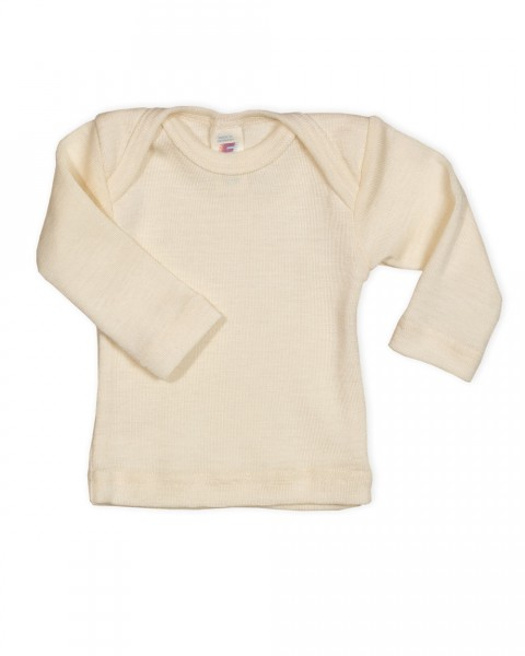 Baby Unterhemd langarm, Engel Natur, Wolle Seide