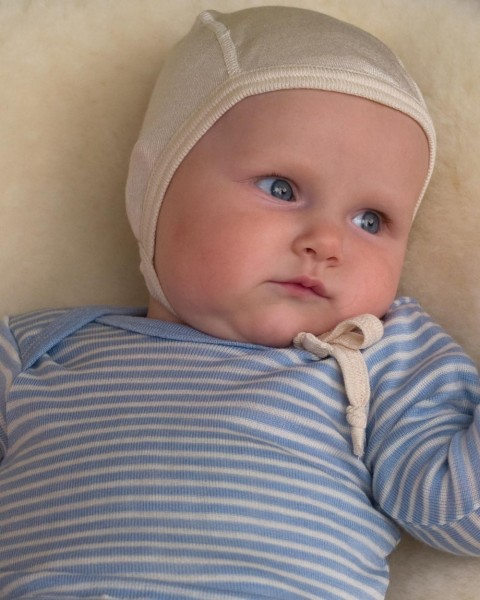 Baby Häubchen, Engel Natur, 100% Wolle (kbT), maschinenwaschbar
