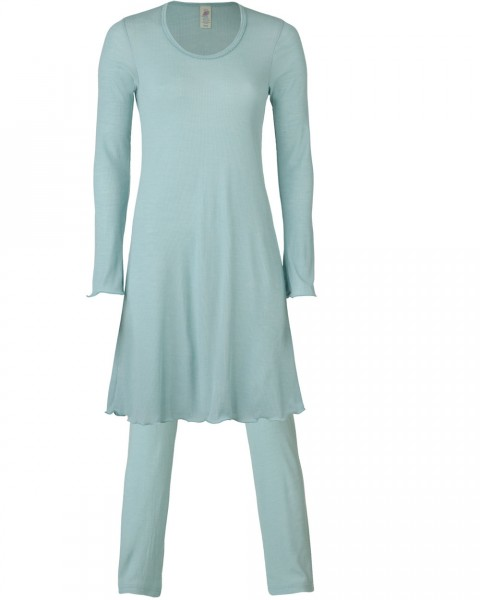 Damen Nachthemd & Hose Set, Engel Natur, Wolle Seide, 2 Farben