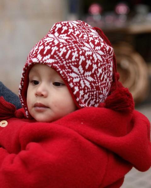 """Baby Mütze """"Schneestern"""", Ganterie, 100% Wolle, 2 Farben"""